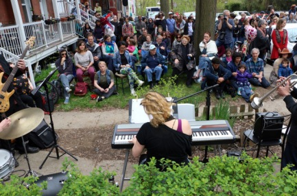Eleuthera and the Melrose Mob play Porchfest 2019. Photo: Joe Donohue.